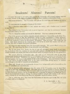 War Announcement by Rev. Francis McCabe, C.M., 1917 Pre-O'Malley Presidential Files DePaul University Archives