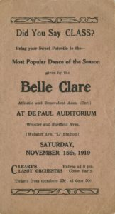 Belle Clare Dance Card, 1919 DePaul University Student Affairs Ephemera Collection DePaul University Archives