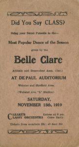 Belle Clare Dance Card, 1919 DePaul University Student Affairs Ephemera Collection DePaul University Archives