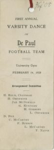 DePaul Football Team First Annual Varsity Dance Card, 1908