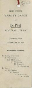 DePaul Football Team First Annual Varsity Dance Card, 1908