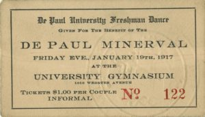 DePaul Freshman Dance and Minerval Benefit Ticket, 1917