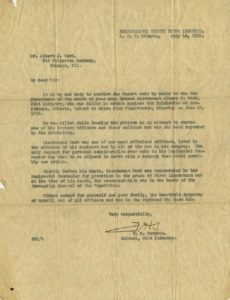 Letter, F. H. Sargent to Albert J. Ward, July 14, 1919 Vincentian Personnel Files, Ferdinand Ward