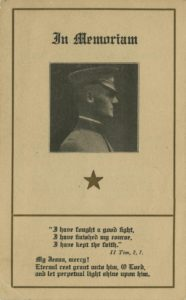 Albert F. Ward memorial card, 1919 Vincentian Personnel Files, Ferdinand Ward DeAndreis-Rosati Memorial Archives