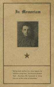 Oliver Ward memorial card, 1921 Vincentian Personnel Files, Ferdinand Ward DeAndreis-Rosati Memorial Archives